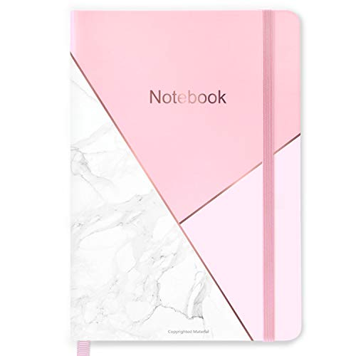 Notizbuch A5, Liniert Notizbuch mit 144 Seiten, Hardcover Journal mit cremefarbenem Papier, Innentasche, 21,5 x 14,5 cm Pink