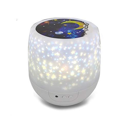 Lampada notturna per bambini con proiettore e luci colorate, rotazione a 360 gradi, dimmerabile, con romantica proiezione del cielo stellato