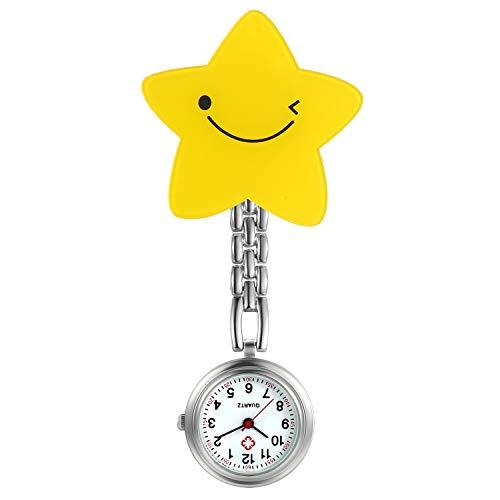 LANCARDO Uhren 4pcs, Krankenschwester Armbanduhr FOB-Uhr Damen Wassermelone Blumen, Stern Taschenuhr Analog Quarzuhr aus Legierung (Gelb)
