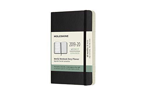 Moleskine Wochen Notizkalender, Taschenkalender, 18 Monate, 2019/2020, Pocket, A6, Soft Cover, Schwarz