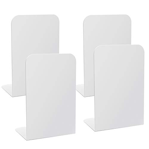 White Bookends, Gibolin Metal Book Ends with Foam Pads for Shelves, Heavy Duty Book Supports and...