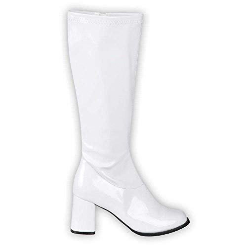 Boland 46212 - Stiefel Retro, Weiß, langer Schaft, Synthetik, Blockabsatz 8 cm, Reisverschluss, Spacy, Schlager, cooler Look, Karneval, Halloween, Fasching, Mottoparty, Theater, Accessoire