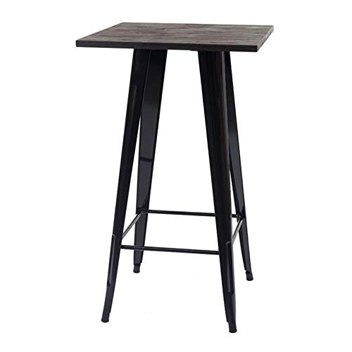 Mesa de Bar, Mesa Alta, 60 * 60 * 92 cm, Estilo Industrial Retro, Patas de Metal + Madera Maciza, Carga máxima 120 KG