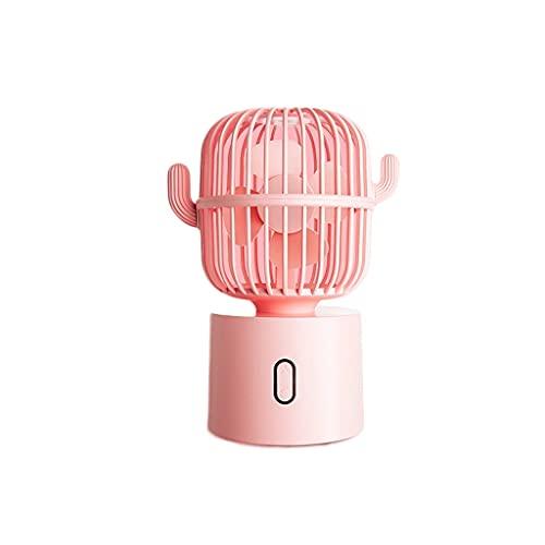 LMJ Cactus Small Fan, sacudiendo la Cabeza, el Ventilador de Escritorio, el fanático del USB de la computadora de Mano, el ángulo Ultra Ancho para el Exterior, la habitación (Color : Pink)
