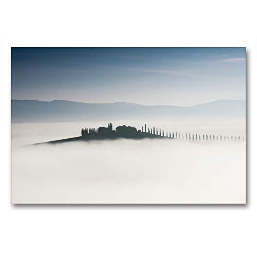 CALVENDO Premium Textil-Leinwand 90 x 60 cm Quer-Format Toskana - Inseln im Nebel, Leinwanddruck von Peter Schürholz