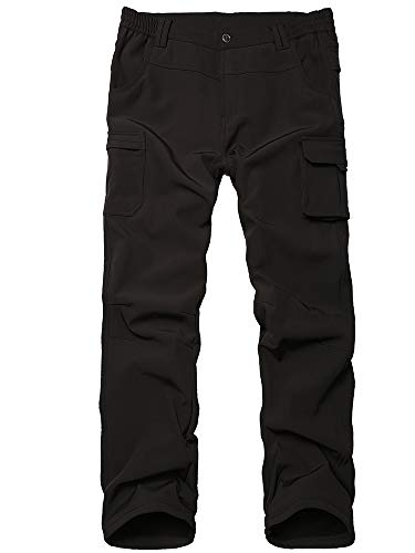 Kids Boy's Youth Fleece Lined Windproof Waterproof Hiking Ski Snow Pants, Soft Shell Expandable Waist Warm Insulated Trousers (9020 Black, 14-16 Years)