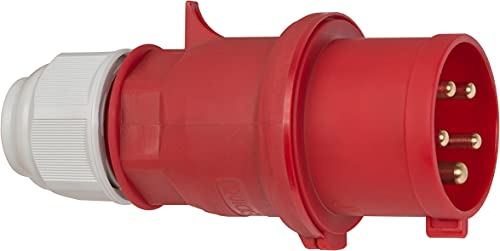 Brennenstuhl 1081050 Clavija, 400 V, Rojo y Negro