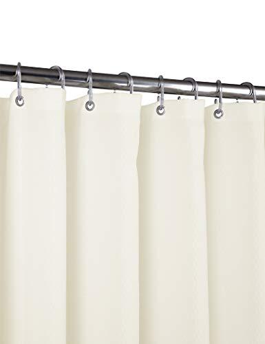 Home Queen Duschvorhang, Waffelgewebe, strapazierfähig, wasserdicht, mit Magneten an der Unterseite & verstärkten Ösen, 91,4 x 182,9 cm, Beige