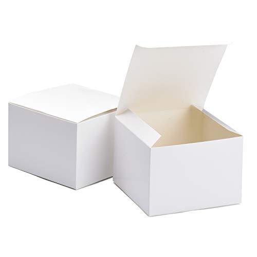 Switory 25pc Kraft Geschenkboxen, 12,5x12,5x9cm, Kraftpapier-Geschenkboxen mit Deckel zum Basteln, Cupcake, Papp-Brautjungfern-Vorschlagsboxen, braune Hochzeitsbevorzugung, einfache Montageboxen Weiß