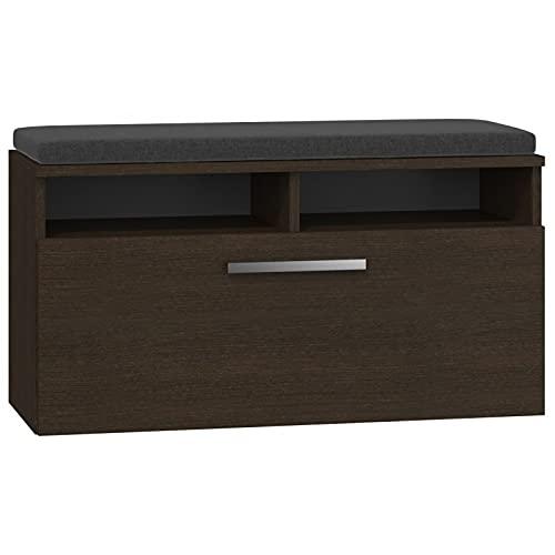 ADGO Riva Mueble para pasillo, armario, zapatero con asiento y almacenamiento, 6 estantes para zapatos, puerta basculante, banco con espacio de almacenamiento, zapatero (armario para zapatos,