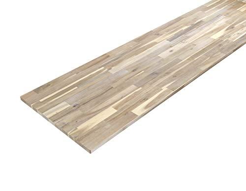 Piani da cucina in legno massello di acacia Interbuild, 2200x635x26 mm, bianco organico, 1 pezzo/confezione