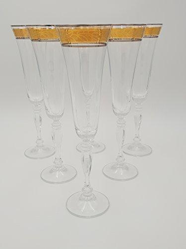 Sektgläser Victoria, Bohemia Crystal, bleifreies Kristallglas, Set 6 x 180ml, Goldverzierung