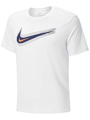 NIKE M NSW tee Swoosh 12 Month T-Shirt, White/(Blue Void), 2XL Mens