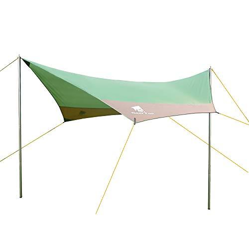 GEERTOP Sonnensegel Wasserdichte Zeltplane Sonnenschutz Außenzelt 4 - 7 Personen für Camping Outdoor Bergsteigen Wandern Angeln Picknick- 440x410 cm- Inklusiv Zeltstangen