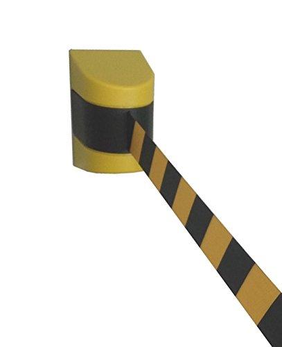 Pro²Tect Absperrgurtkassette TBB-90-Y, Gurtbandkassette zum Anschrauben, Auszug: 8,7 m, Gelb, Absperrung, Wandgurtkassette, Leitsystem