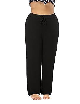 ALLEGRACE Women s Plus Size Comfy Stretch Long Pajama Pants Drawstring Sleep Lounge Pants Black 2X