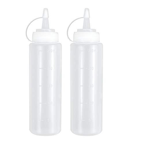 Squeeze Bottle 230ml Exprimir Condimento Dispensador de Botellas de Plástico Ninguna Fuga para Cocina Salsa BBQ Aceite de Oliva Ketchup Mostaza Mayonesa Salsa Picante de Ensalada 2PCS