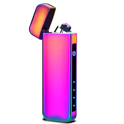 Dual Arc Plasma Lighter Battery Indicator Windproof USB Rechargeable Sleek Design Cool Looking Indoor Outdoor Electric Lighter for Candles Fireworks Incense Campfire Ect. (Colorful)