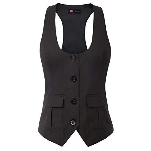KANCY KOLE V-Ausschnitt Elegant Weste Hemdbluse Bluse Sommer Tops V-Ausschnitt Business Slim Fit KCE02134-1_XL