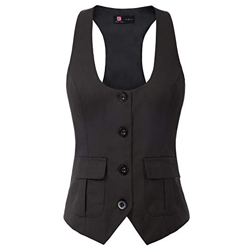 KANCY KOLE Damen V-Ausschnitt Elegant Weste Hemdbluse Anzug Weste Modern Outdoor KCE02134-1_L