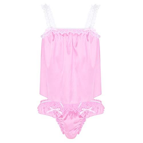 TiaoBug Herren Zweiteiliger Satin Schlafanzug kurz Sissy Pyjama Set Tank Tops Oberteil Spitzen Höschen Slips Männer Erotik Dessous Cosplay Kleidung Rosa XL