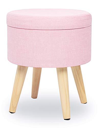 Pouf Hocker mit Stauraum Sitzhocker Rund Kleiner Sofa Puff Hocker Fußbank aus Leinen und Massivholz mit Deckel Rosa Pink