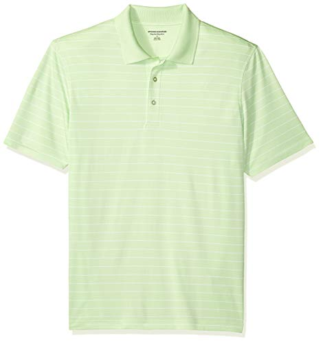 Amazon Essentials Men's Regular-Fit Quick-Dry Golf Polo Shirt, Lime Green Stripe, X-Large