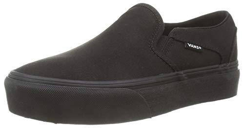 Vans Damen Asher Platform Sneaker, Canvas Schwarz Schwarz, 37 EU