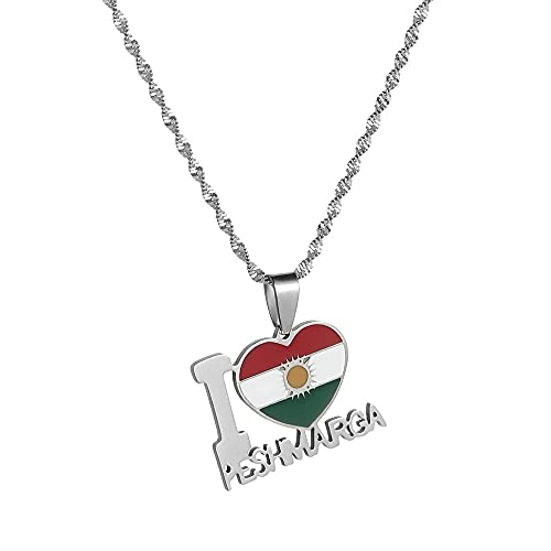 Kkoqmw Collar con Colgante de Bandera y Mapa de Kurdistán de Acero Inoxidable para Amantes, joyería étnica para Mujeres, Regalo patriótico de Kurdistán