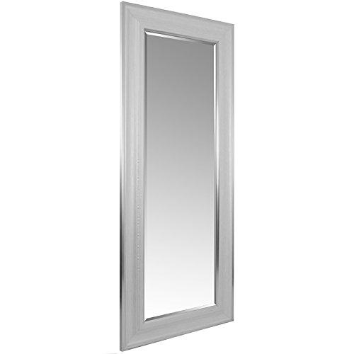 Wohaga® XXL Spiegel mit Facettenschliff und Verzierungen 170x70cm Silberweiß Flurspiegel Ankleidespiegel Hängespiegel Wandspiegel