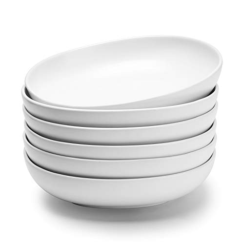 Wide and Shallow Porcelain Salad and Pasta Bowls Set of 6 - 24 Ounce Microwave and Dishwasher Safe Serving Dishes, Matte White