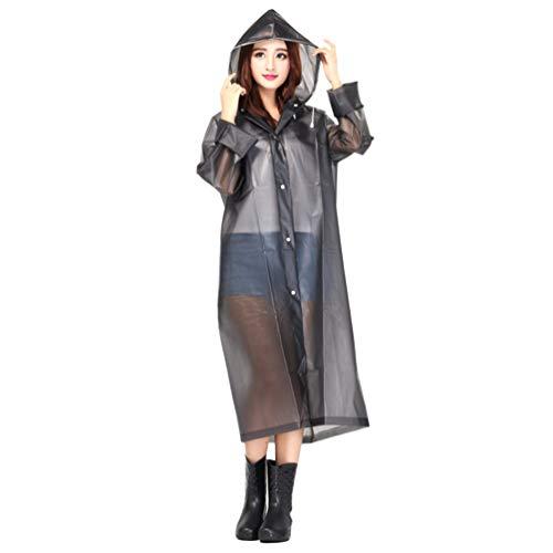 CLISPEED Regenponcho met capuchon, beschermend pak, regenkleding, voor fietsen, klimmen, kamperen, wandelen, L, Donkergrijs