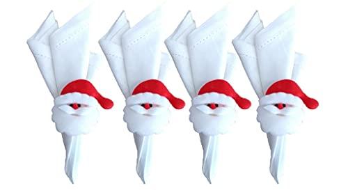 Jogo Guardanapo Ponto Ajour Branco e Anel Papai Noel Abre e Fecha 4 Unidades