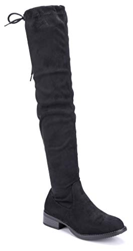 Schuhtempel24 Damen Schuhe Overknee Stiefel Stiefeletten Boots schwarz Blockabsatz Zierschleife 3 cm
