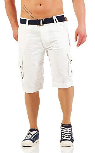Geographical Norway Park Men, Pantalones Cortos de Deporte para Hombre, Blanco (WHITE), M
