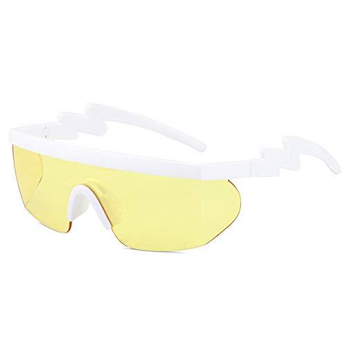 Gafas De Sol Polarizadas para Hombres Protección UV Antirreflejo Patillas Onduladas Blancas Lentes Amarillas Gafas De Sol Gafas De Ciclismo para Exteriores Deportes Conducción Gafas De Cic