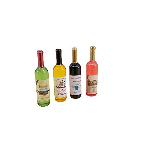 OMMO LEBEINDR Botellas De Vino 4pcs Dollhouse 1:12 Miniatura Botellas De Vino Colorido Dollhouse Accesorios Materia De Cocina Útil