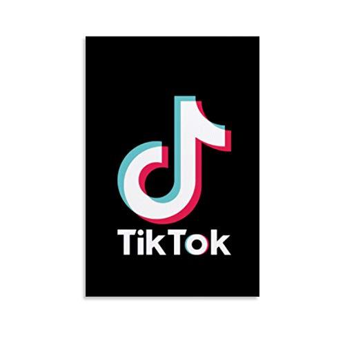 Ghychk Tik Tok Logo Made Live on Tik Tok - Pintura abstracta moderna para decoración de sala de estar, dormitorio, lista para colgar 50 x 75 cm