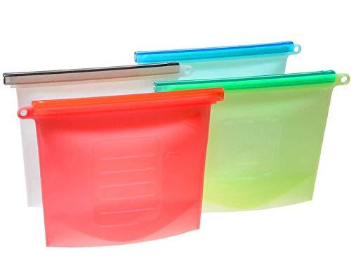 Uotyle 食品収納袋 保存バッグ 食材保存 袋密封 漏れ防止 真空保存袋 液体保存真空密閉 鮮度長持ちにも 家庭用 繰り返し使える シリコーン製 4個入り (4個-(1000ML))