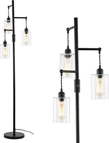 Rayofly 3-Lights Glass Floor Lamp, Industrial Tree Floor Lamp Tall Reading Task Light for Living Room Bedroom Office Dormitory Office Cafe