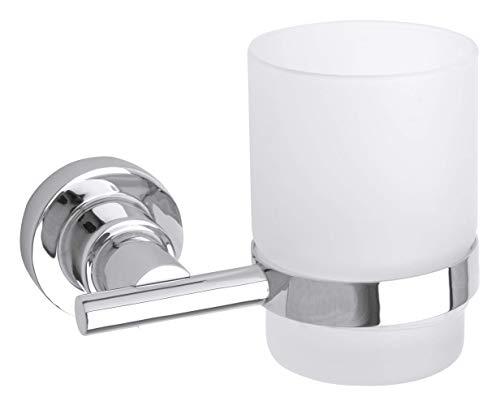 Tesa luup Zahnbürstenhalter (inkl. Klebelösung, verchromt, rostfrei, satiniertes Glas, 95mm x 120mm x 100mm)