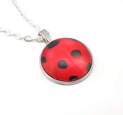 Stechschmuck Halskette mit Anhänger Handmade Punkte Polka Dots Marienkäfer Ladybug Lady Bug Miraculous Schwarz Rot Amulett Medaillon Talisman Silber Farben 27mm