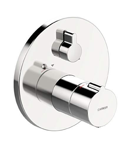 Hansa 88623045 Wannenbatterie / Thermostat-Batterie | mit Sicherungseinrichtung, Sicherheitssperre bie 38°C, Schalldämpfer | Durchflussmenge: 22/22 l/min bei 3 bar