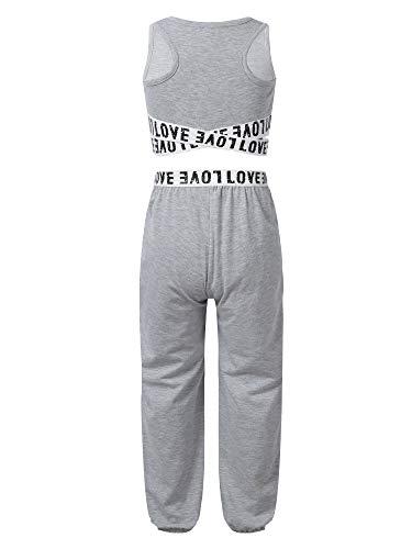 Freebily Conjuntos Deportivos Niñas Crop Top de Deporte Pantalones Leggings Elásticos Chalecos Deportivos Ropa de Deporte Yoga Fitness Running Conjuntos de Dos Piezas Gris 13-14 años