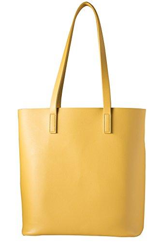 cecilia&bens Handtasche   Shopper Damen groß   Schultertasche Umhängetasche inkl. Innentasche mit Reißverschluss 100% vegan   Berlin Design, Farbe:gelb