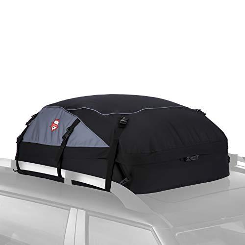 Pujuas Auto Dachbox, 580L Faltbare Dachtasche Wasserdicht Auto Dachkoffer Dachboxen Tasche Aufbewahrungsbox für Reise und Gepäcktransport, Schwarz