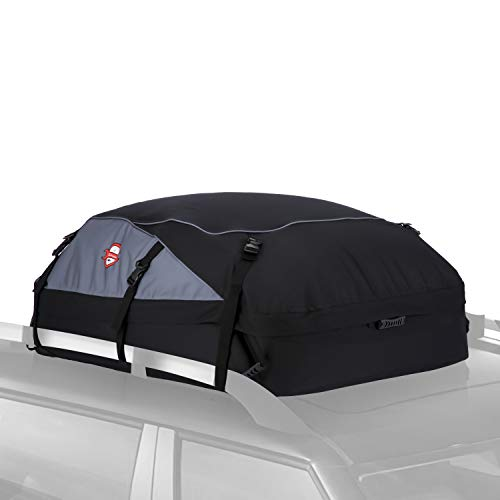 Sailnovo Rooftop Cargo Carrier Car Top Carrier Roof Bag,Water Resistant Waterproof Car & Van Soft Rooftop Travel Cargo Bag Box Storage Luggage Large with Straps (20 Cubic Feet, Black)
