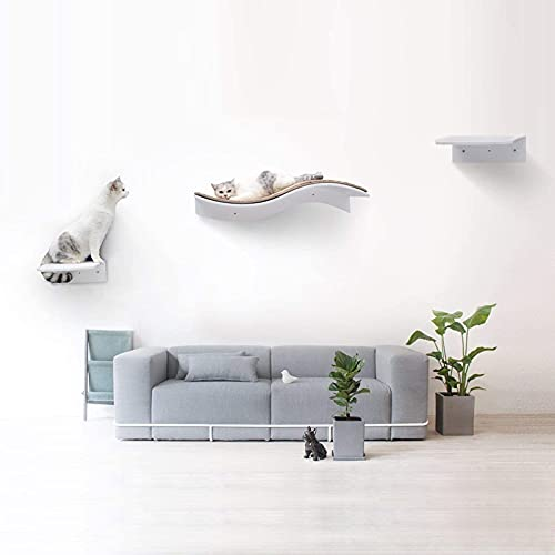 bqw Cat Bed Wall Mounted Shelves Curved Cat Furniture Climbing Wall for Cat Perching Sleeping Lounging with 2 Steps