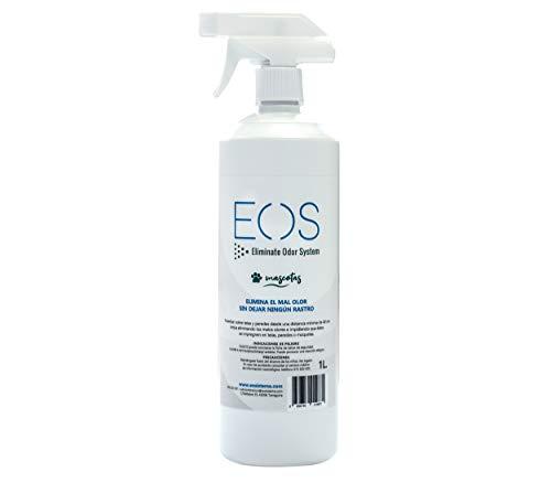 EOS (1 litro) Elimina olores de Mascotas de Forma instantánea. Antiolor para Todo Tipo de Mascotas (Perros, Gatos, etc) y Aplicaciones (sofás, areneros, Camas, Coche, etc) Limpiador enzimático orina