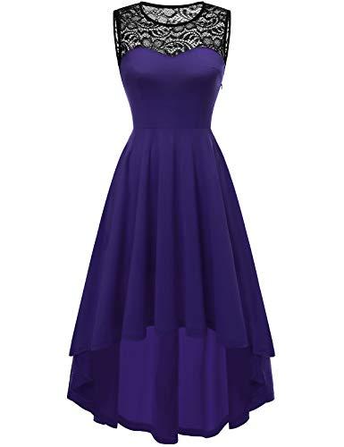 YOYAKER Damen Vintage Rockabilly Kleid Rundhals Ärmellos Cocktailkleid Elegant Spitzenkleid Vokuhila Festliche Party Abendkleider Purple M